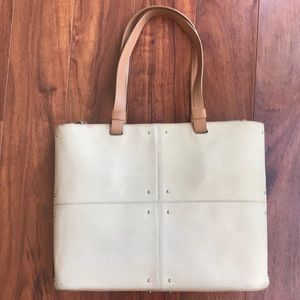 Tod's medium canvas and tan leather studded tote